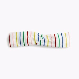 J. Crew Soft Twist Headband in Rainbow Mini Stripe